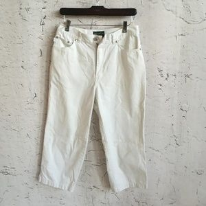 RALPH LAUREN WHITE CAPRI PANTS 8
